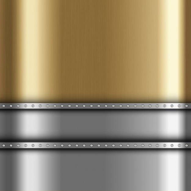 Metallic-hintergrund mit gold und silber metall Kostenlosen Vektoren