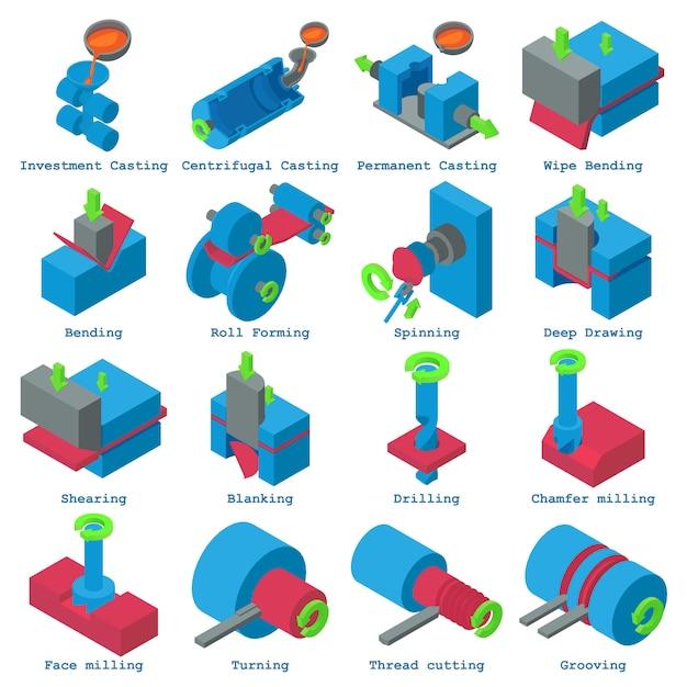 Metallikonen eingestellt. isometrische illustration von 16 metallverarbeitungsvektorikonen für netz Premium Vektoren