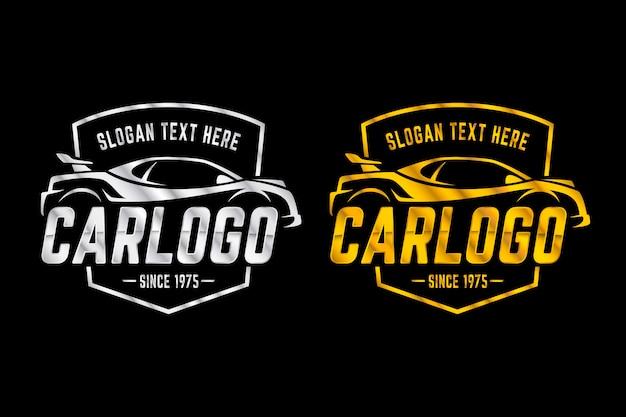 Metallische auto-logos in zwei versionen Kostenlosen Vektoren