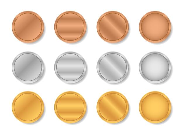 Metallische farbverläufe in gold, silber und bronze. Premium Vektoren