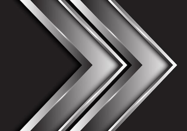 Metallische richtung des silbernen doppelpfeiles auf schwarzem hintergrund. Premium Vektoren