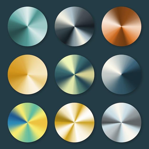 Metallische silber- und goldkonische metallvektorsteigungen Premium Vektoren