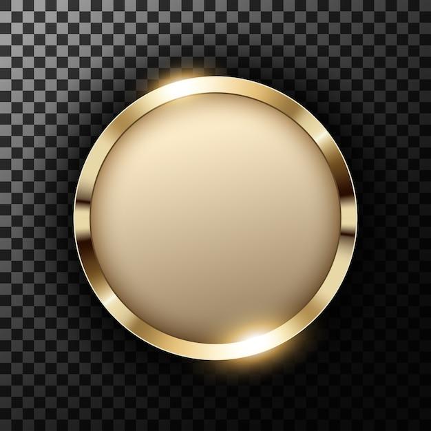 Metallischer goldring mit dem textplatz auf transparentem gemasertem Premium Vektoren