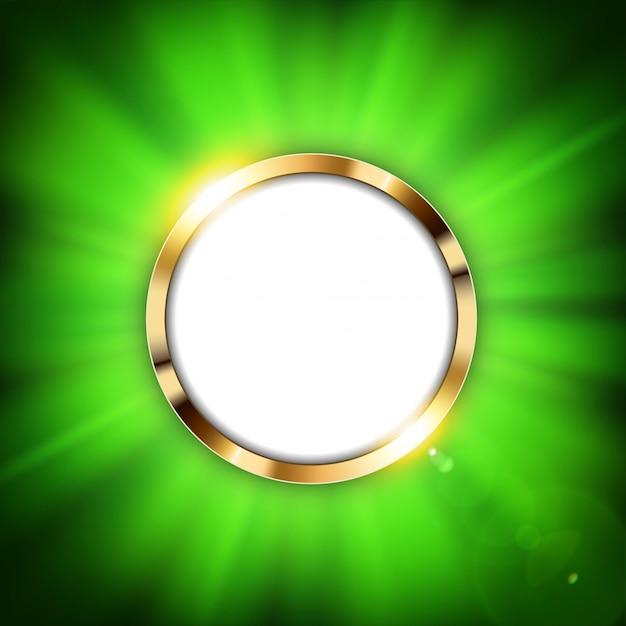 Metallischer grüner ring mit textraum und goldlicht Premium Vektoren