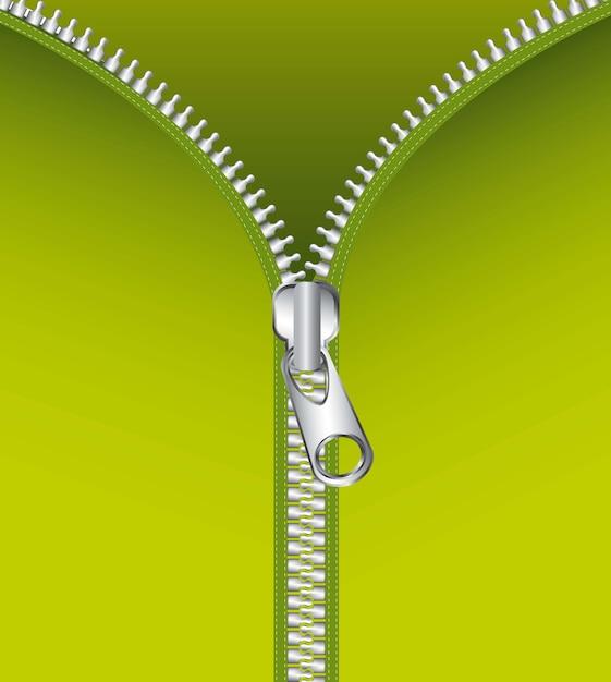 Metallischer reißverschluss über grüner hintergrundvektorillustration Premium Vektoren