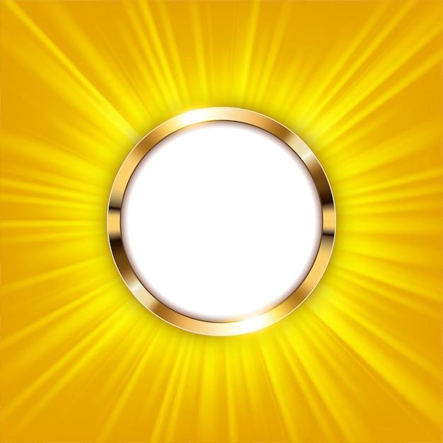 Metallischer ring mit dem textplatz und goldlicht belichtet Premium Vektoren