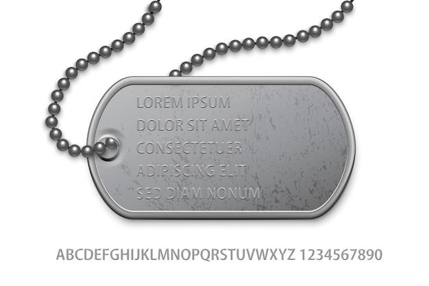 Metallisches militärisches silberabzeichen mit kette und bearbeitbarer textschablone. Premium Vektoren