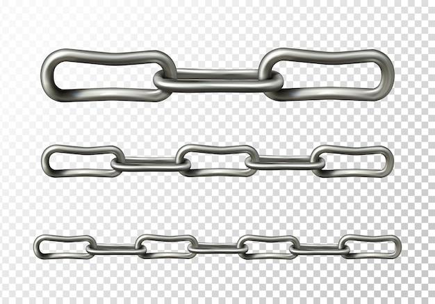 Metallkettenillustration von realistischen metallischen oder silbernen kettengliedern 3d Kostenlosen Vektoren