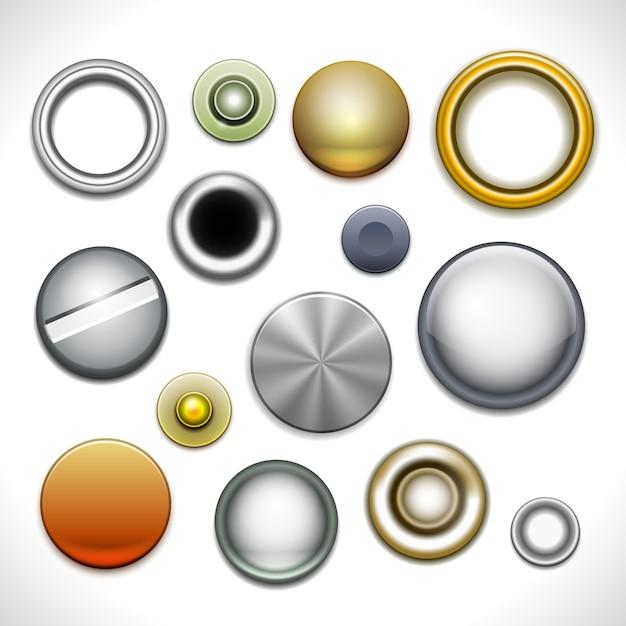 Metallknöpfe und nieten isoliert Kostenlosen Vektoren