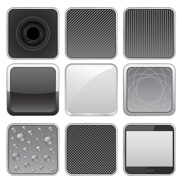 Metallknopf web icon set Premium Vektoren
