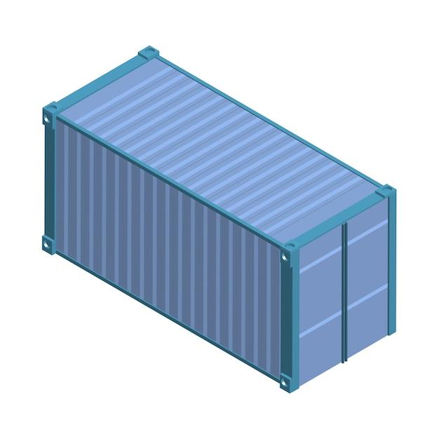 Metallquadratbehälter lokalisiert auf hintergrund Kostenlosen Vektoren