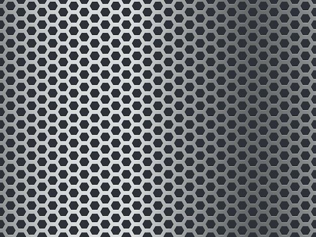 Metallstrukturmuster. nahtlose stahlplatte, edelstahlgewebe. chrom sechseck grunge aluminium perforierte mosaik finish hintergrund Premium Vektoren