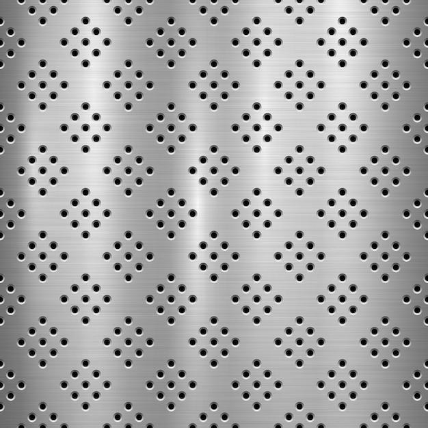 Metalltechnologiehintergrund mit mit perforiertem muster des nahtlosen kreises und rundschreiben polierte, gebürstete beschaffenheit, chrom, silber, stahl Premium Vektoren