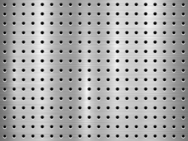 Metalltechnologiehintergrund mit perforiertem muster des nahtlosen kreises Premium Vektoren