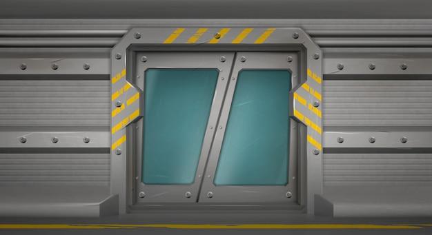 Metalltür, schiebetore im raumschiffflur Kostenlosen Vektoren