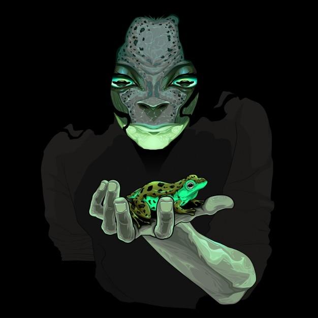 Metamorphosis monster kerl mit einem frosch vektor-illustration Kostenlosen Vektoren