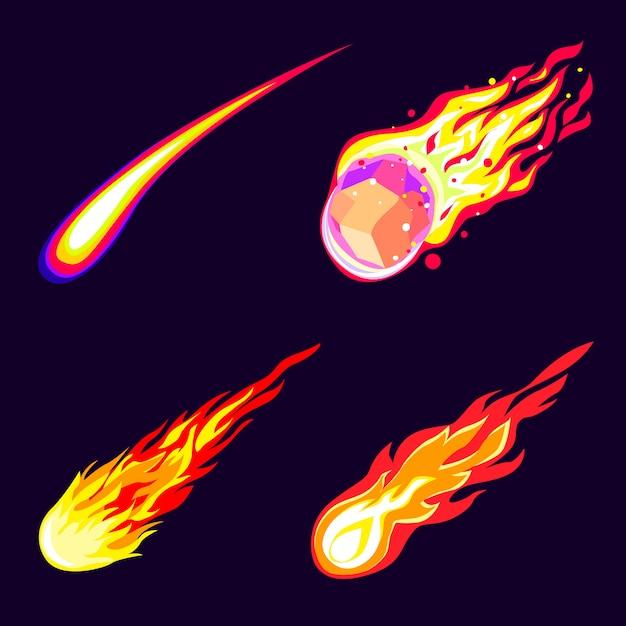 Meteoriten icons set. karikatursatz meteoritenikonen Premium Vektoren