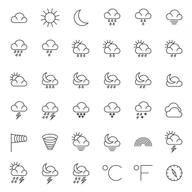 Meteorologiesymbole und dünne linie ikonen des wetters eingestellt Premium Vektoren