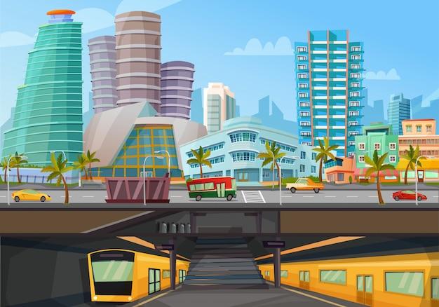 Metro-schienenposter der innenstadt von miami Kostenlosen Vektoren