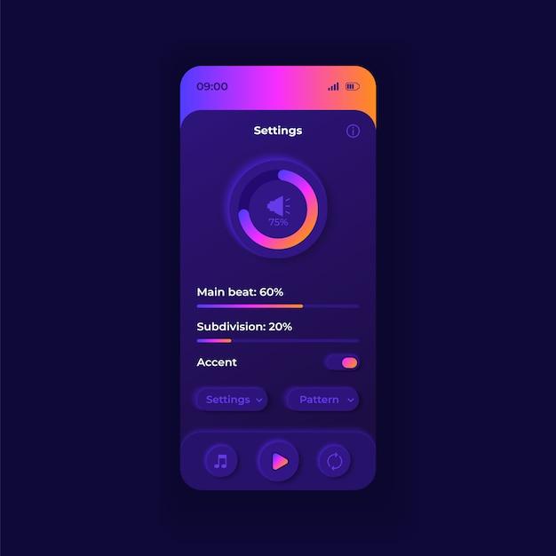 Metronomparameter smartphone-schnittstellenvorlage. dunkles design-layout der mobilen app-seite. hilfsanwendungsbildschirm für musiker. benutzeroberfläche für die anwendung. bpm-einstellungen auf dem telefondisplay. Premium Vektoren