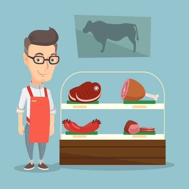 Metzger, der frischfleisch in einer metzgerei anbietet. Premium Vektoren