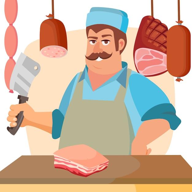 Metzger mit fleisch Premium Vektoren