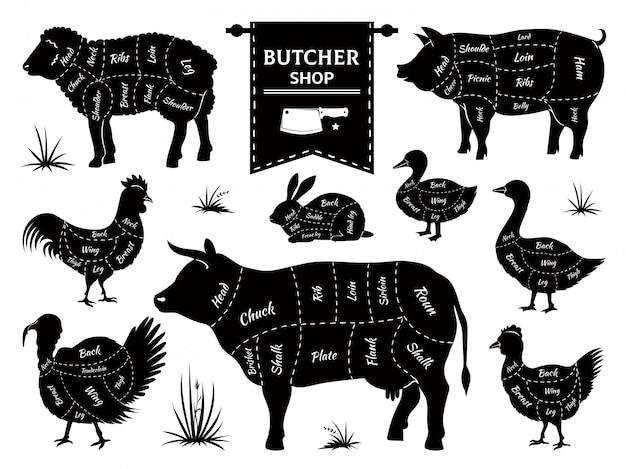 Metzgerdiagramme. tierfleisch schneidet, kuhschwein kaninchen lammhahn haustiere silhouetten. retro metzgerei logos gesetzt Premium Vektoren