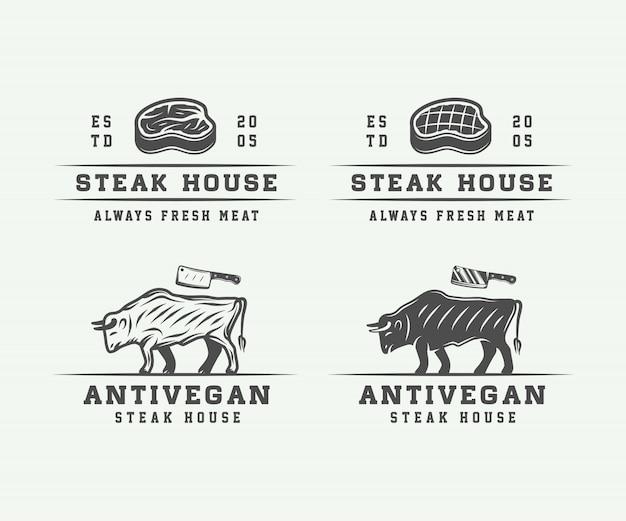Metzgerei fleisch, steak oder grill Premium Vektoren