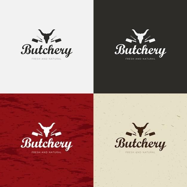 Metzgerei-logo, fleisch-aufkleber-schablone mit vieh-schattenbildern und -messern. Premium Vektoren