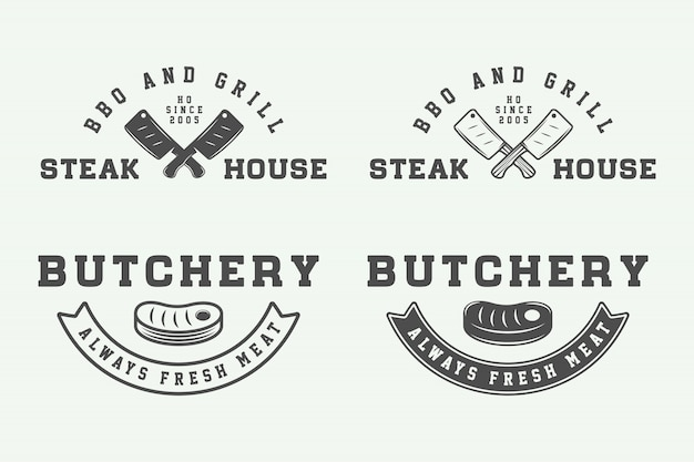 Metzgerei steak logos, embleme Premium Vektoren