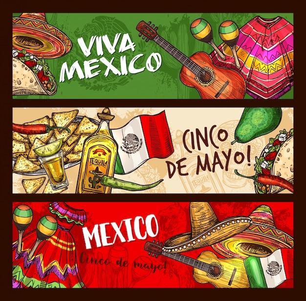 Mexikanische feiertagsfeier cinco de mayo Premium Vektoren