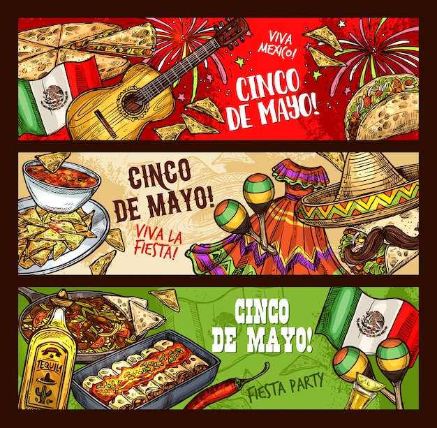 Mexikanische fiesta cinco de mayo, party viva mexico Premium Vektoren