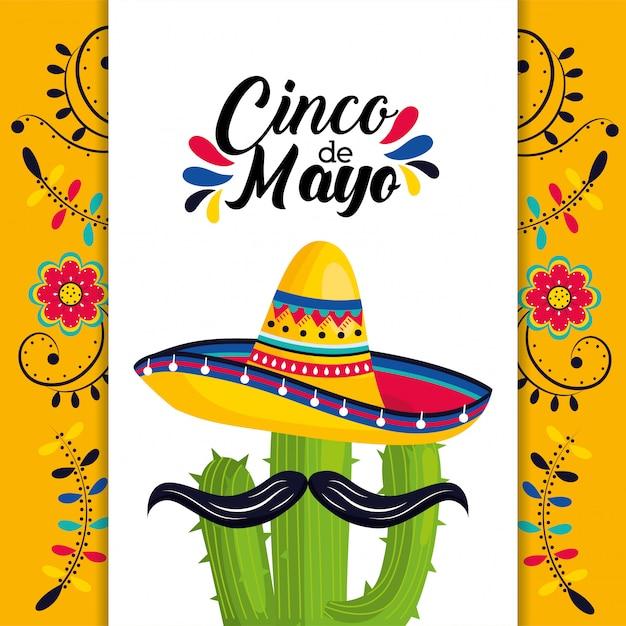Mexikanische karte mit hut und kaktuspflanze mit schnurrbart Premium Vektoren