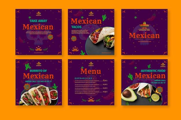 Mexikanische küche restaurant instagram beiträge sammlung Kostenlosen Vektoren