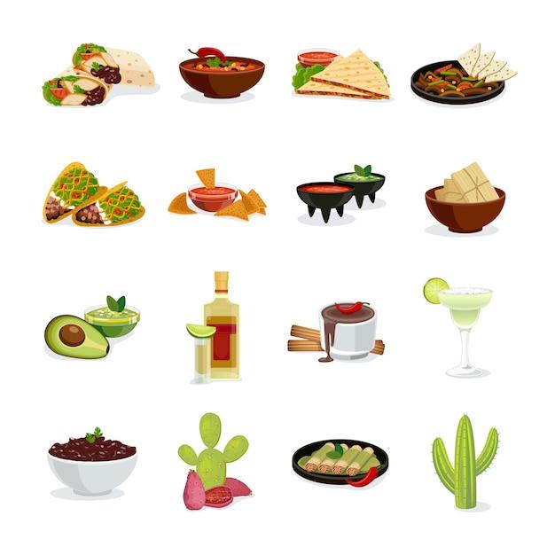 Mexikanische küchetellerimbisse und flache ikonen der getränke eingestellt Kostenlosen Vektoren