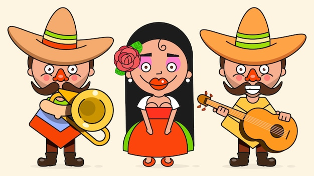Mexikanische musiker-illustration mit zwei männern und einer frau mit gitarren in der gebürtigen kleidung und im sombrero flach Premium Vektoren