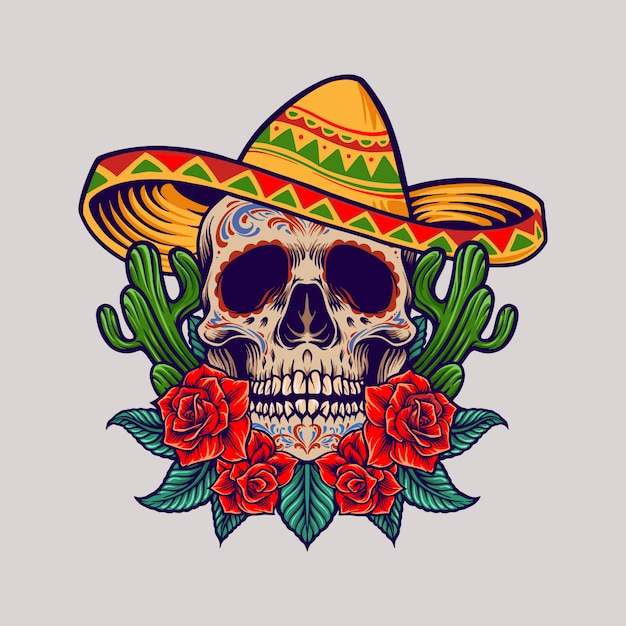 Mexikanische schädelillustration cinco de mayo Premium Vektoren