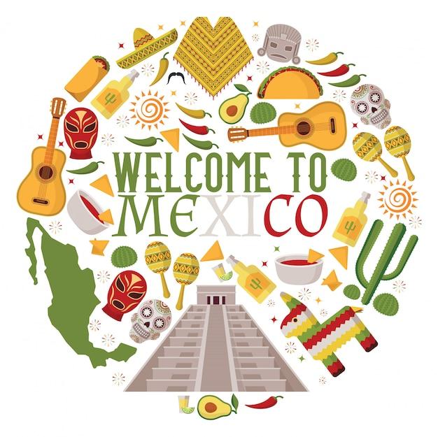 Mexikanische symbole in der runden rahmenzusammensetzung Premium Vektoren