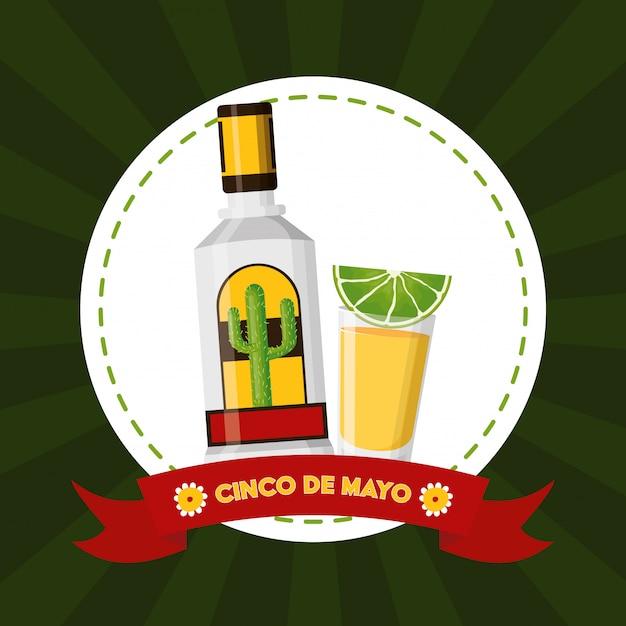 Mexikanische tequilaillustration mexiko-cinco des mayo Kostenlosen Vektoren
