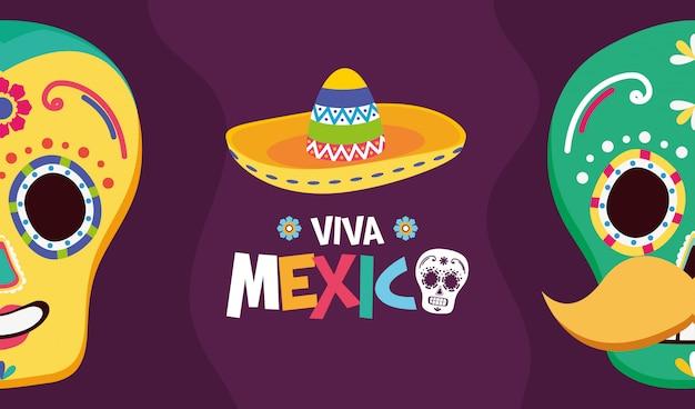 Mexikanische totenköpfe und hut für viva mexico Kostenlosen Vektoren