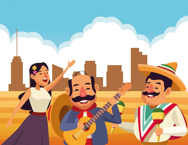 Mexikanische traditionelle kulturikonenkarikatur Kostenlosen Vektoren