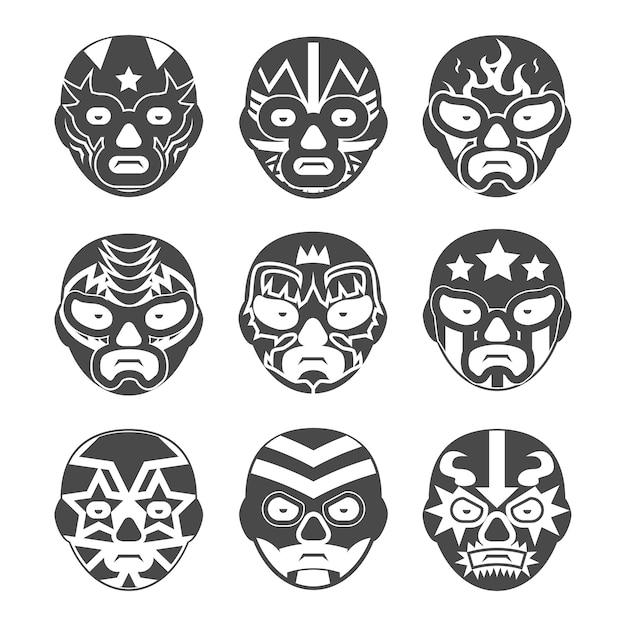 Mexikanische wrestling masken gesetzt. Kostenlosen Vektoren