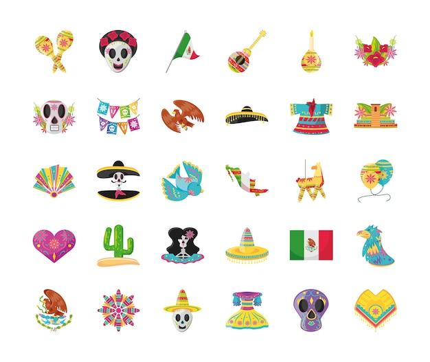Mexikanischer detaillierter stil 30 ikonensatzentwurf, mexiko-kultur Premium Vektoren
