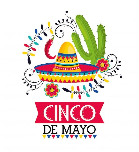 Mexikanischer hut mit chilischoten und kaktus zum ereignis Premium Vektoren