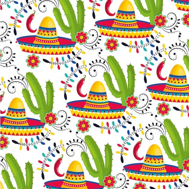 Mexikanischer hut mit kaktuspflanzen und paprikapfefferhintergrund Premium Vektoren