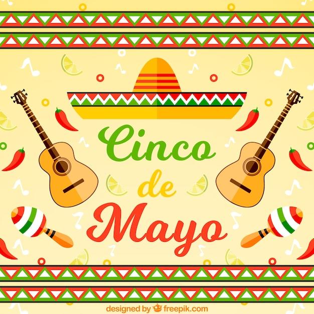 Mexikanischer huthintergrund mit gitarren Kostenlosen Vektoren