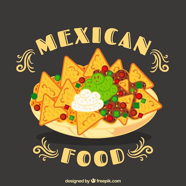 Mexikanischer lebensmittelhintergrund mit nachos auf platte Kostenlosen Vektoren