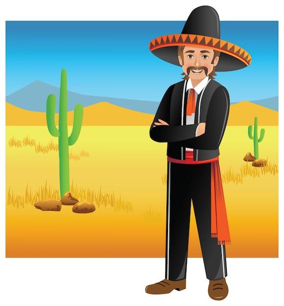 Mexikanischer mann in der wüste Premium Vektoren