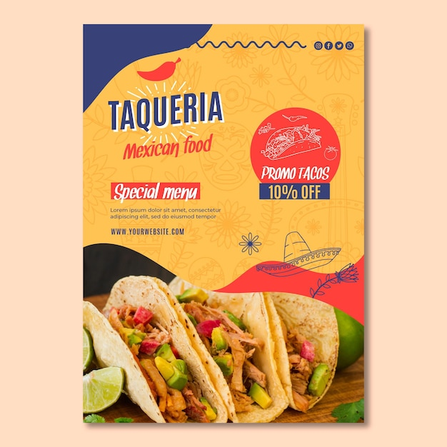 Mexikanischer restaurantflieger vertikal Premium Vektoren