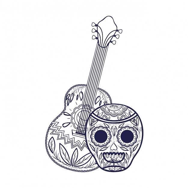 Mexikanischer schädel mit gitarrenikone Premium Vektoren